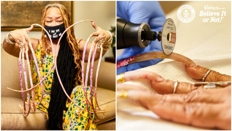 Woman with world's longest nails cuts them off – but says she's 'still the queen'